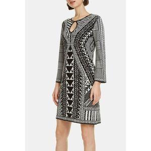 Desigual Long Sleeve Dress Black & White Geo L